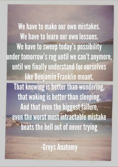 And that even the biggest failure, even the worst most intractable mistake, beats the hell out of never trying. - Grey's Anatomy