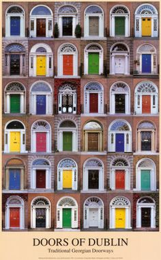 this is the coolest thing in dublin. when the men were at war, the wives would paint the doors different colors so the men would know which was theres.