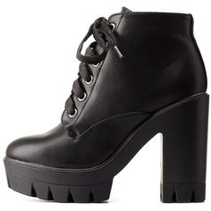 Charlotte Russe Black Bamboo Lug Sole Platform Combat Booties by... found on Polyvore featuring shoes, boots, ankle booties, heels, black, black bootie, combat boots, platform booties, short black boots and black booties