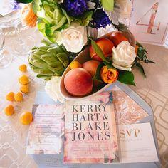 Custom Modern Floral wedding invitations from Tie That Binds in Portland, Oregon