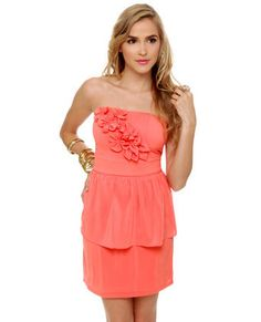 LuLu*s [Par for the Corsage Strapless Coral Dress] -- $48.00 #lovelulus
