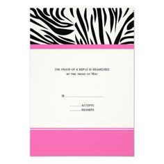 Monogram Black and White Zebra Print and Hot Pink Invitations