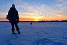 enjoying a frozen sunset
