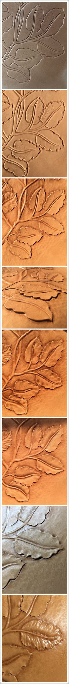 The procedure of Tooling  leaves#leather carving#leather