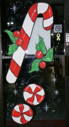 Door on an auto dealership that I painted for the holidays. Window Art, Christmas Shopping, Wonderful Time, Xmas, Windows, Artist, Painting, Holidays, Noel