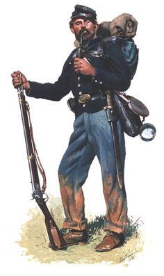 Union; 45th New York Volunteers, (5th German Regiment or Rifles), Private, Gettysburg, 1863 by Don Troiani. This regiment was armed with Mississippi Rifles & saber bayonets.