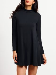 Black Stand Collar Long Sleeve Loose Dress. Fall Fashion-Shein For Women - Walking in Grace and Beauty.