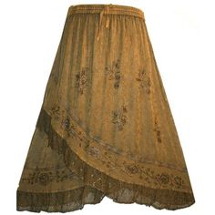 Agan\ Trades #11 Dancing Gypsy Medieval Renaissance Vintage... ($45) ❤ liked on Polyvore featuring skirts, bottoms, brown maxi skirt, gypsy skirt, lace skirts, long stretchy skirts and long brown maxi skirt