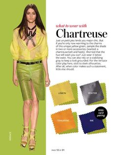 Instyle Color Crash Course - Chartreuse cobalt or navy and pewter Colour Combinations Fashion, Fashion Colours, Colorful Fashion, Color Combinations, Chartreuse Color, Lilac Color, Quoi Porter, Fashion Vocabulary, Instyle Magazine