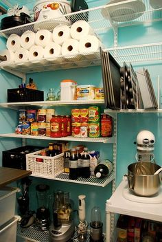 pantry/laundry room combo   shelves that line up to the top