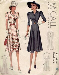 McCall 3134   1939 Misses' Dress