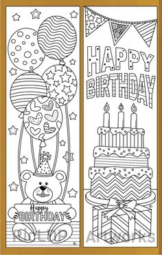 4 birthday coloring bookmarks #birthday #coloring #printables Coloring For Kids, Adult Coloring Pages, Coloring Books, Zentangle Drawings, Doodle Drawings, Happy Birthday Coloring Pages, Cake Drawing, Diy Bookmarks, Printable Coloring Pages