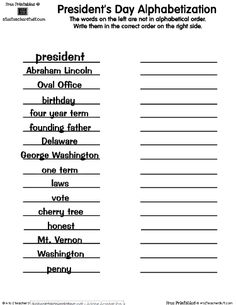 Delicate image for free printable presidents day worksheets