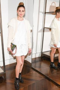 Olivia Palermo wearing Burberry Shearling-Trimmed Wool-Cashmere Cardigan, Burberry Buckle Bag, Miu Miu Chelsea Leather Boots and Alexander Wang White Handkerchief Tie Dress