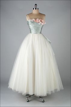 1950's Ceil Chapman Silk Satin Millinery Trim Dress