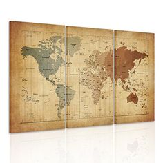 Framed Ready to Hang Painting on Canvas Print Wall Art Decor Antique Vintage Style World Map