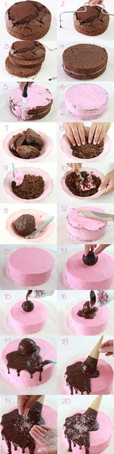 How to make an Ice Cream Cake - Step-by-Step Tutorial                                                                                                                                                      More