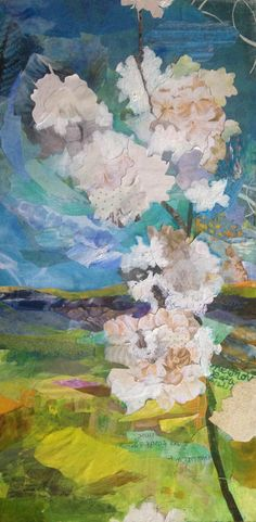 """Colorado Wildflowers."" 10x20 inch collage on board. Artist, Katherine Horst. Www.k-Horst.com"