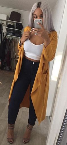 (50/50) Comfortable Lady // Deep Gold Cardigan, White Cami, Black Skinny Jeans, Dark Tan Strapped Heels