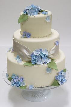 wedding cake with blue flowers - i would just want the flowers to be a darker blue