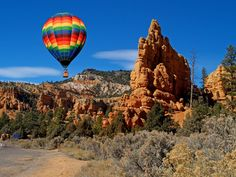 Picture - Hot air balloon over Red Canyon in Dixie National Forest, Utah. | PlanetWare