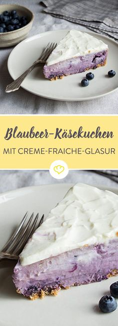 Wir verabschieden uns von vornehmer Blässe und verpassen unserem extra cremigen… We say goodbye to noble paleness and miss our extra creamy cheesecake a rich purple – quite naturally with pureed blueberries. Looks good, tastes fantastic! Creme Fraiche, Blueberry Recipes, Blueberry Cheesecake, Blueberry Cake, Fall Recipes, Sweet Recipes, No Bake Desserts, Dessert Recipes, Crema Fresca
