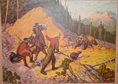 H. J. Wilwerding MOMMA BEAR on the attack Old American West Louis Dow Litho Co. by SquarenutsShop on Etsy