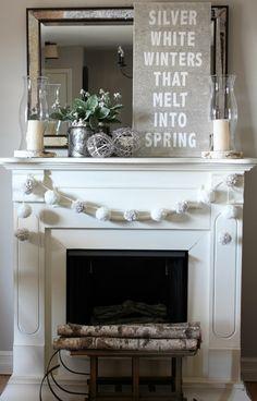 Silver White Winters Mantel - winter decor