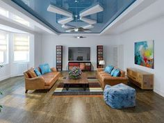Living in a contemporary house means that you have to find modern false ceiling ideas. Contemporary-styled home needs unique touches on everything. Ceiling Design Living Room, False Ceiling Design, Living Room Interior, Living Room Designs, Living Rooms, Types Of Ceilings, Front Gate Design, Colored Ceiling, Contemporary Style Homes
