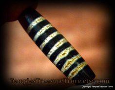 Old Tibetan Dzi Bead Seven Threads Rare Dzi Bead Multiple Fortunes Deep Brown and Beige Sacred Dzi Beads with Cinnabar Sourced from Tibet