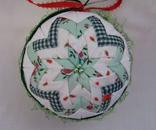 Star Quilted Ball White + Green Christmas Ornament Country  Handmade