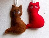 Cat ornament - felt Christmas ornament - handmade