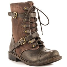 Zigi Girl Womens Tactic Boots in Brown Leather Dream Shoes, Crazy Shoes, Me Too Shoes, Style Steampunk, Steampunk Fashion, Leather Boots, Brown Leather, Shoe Boots, Ankle Boots