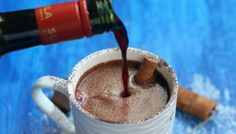 Red Wine Hot Chocolate.   Chocolate and wine. Together like they were always meant to be.