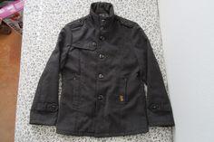 Authentic Gstar Raw Denim Wool Dress Coat Jacket Men's SMALL Grey #GStar #BasicJacket