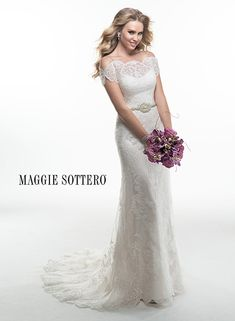 Gorgeous lace wedding dress with cold shoulder sleeve, portrait neckline and embellished shoe string straps. Louise by Maggie Sottero.
