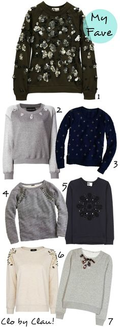 DIY Ideas: Embellished Sweatshirt - Sudaderas con Aplicaciones — clo by clau! Decorating Shirts, Diy Pullover, Diy Fashion, Womens Fashion, Fashion Design, Diy Vetement, Sweatshirt Refashion, Diy Tops, Mein Style