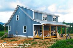 Architectural Designs House Plan 59156ND under construction in Virginia at the end of a 2.5 mile dirt road on the side of our client's 3 acre pond. 2 beds, 2 baths, 1,400 square feet. Ready when you are. Where do YOU want to build?