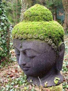 Moss Covered Buddha Head Statue : Grow Moss In Garden Statues - Modern Buddha Zen, Gautama Buddha, Buddha Buddhism, Buddhist Art, Buddha Peace, Stone Buddha Statue, Buddha Statues, Buddha Sculpture, Angel Statues
