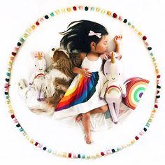 @pleiades_handmade It's small shop Saturday! Vintage Rainbow dress with @cuddleandkind unicorn
