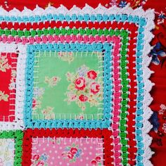 Crochet patchwork fusión de tela mezcla edredón manta