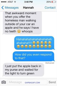 #FunnyTexts About Homeless Man vs. An Apple