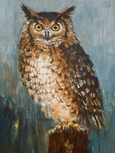 Original Acrylic Painting Animal Art  Owl Portrait Wall decor