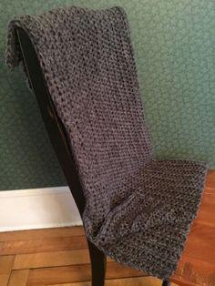 CROCHET BULKY handmade afghan blanket couch acrylic wool toddler CHARCOAL grey #handmade #homespun
