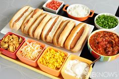 Chili hot dog bar with toppings .in between finger foods and actual food . Family chili night is about to be the best night of the week. Help your kids create their own tasty chili dogs with this easy chili bar idea. Quick Appetizers, Appetizers For Party, Appetizer Recipes, Party Recipes, Appetizer Ideas, Birthday Appetizers, Dinner Recipes, Dinner Ideas, Hot Dog Party
