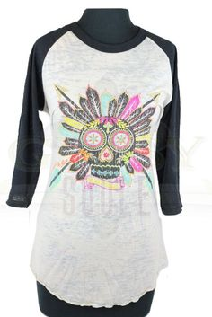 5f787bfb5c16b Love this Gypsy Soule burnout baseball tee! Not just a regular  ol skull  but an indian skull