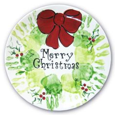 Hand painted Christmas plate. Makes a cute Christmas present for the grandparents!!
