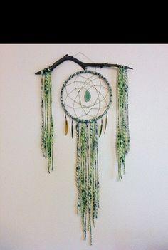 Driftwood Green Moss Dreamcatcher-Bohemian Style Tapestry Wall Hanging-Green Agate Slice-Boho Decor-Boho bedroom- dream catcher- wedding