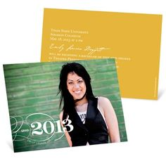 Horizontal Photo Graduation Invitation -- Sophisticated Swirls CAILYN or SHANAN