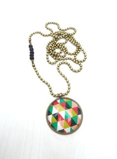 bronze necklace with triangles cabochon (S-555d) van Dome's Design op DaWanda.com
